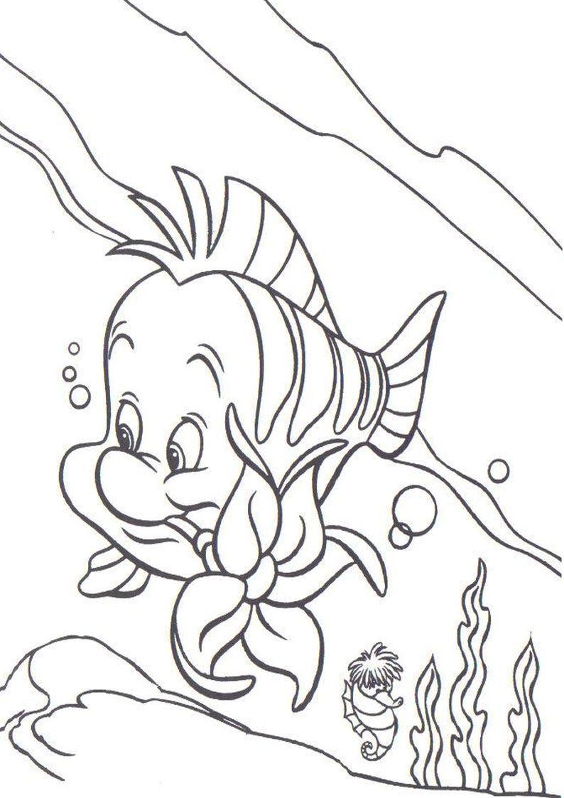 Kolorowanka Florek Postac Z Bajki Disney Mala Syrenka Nr 32