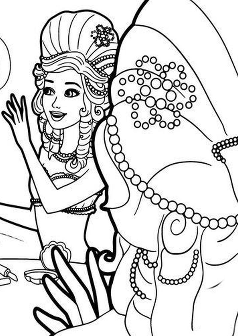 Kolorowanka Barbie Perlowa Ksiezniczka Malowanka Nr 27 Do Wydruku