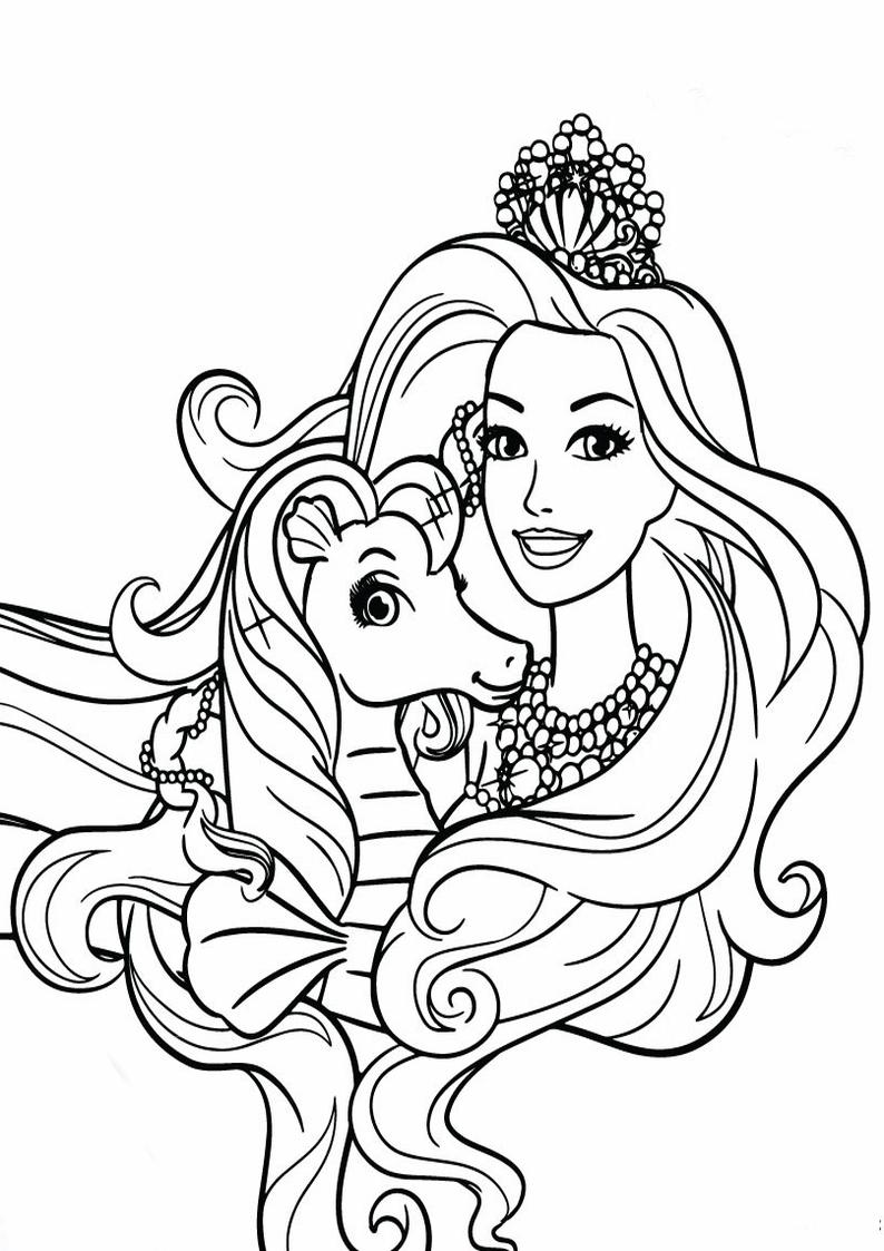 Kolorowanka Barbie Perlowa Ksiezniczka Malowanka Nr 7 Do Wydruku
