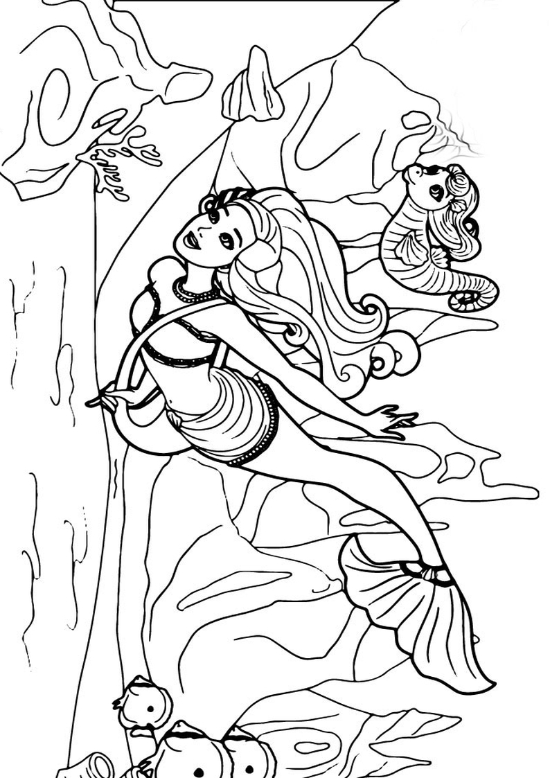 Kolorowanka Barbie Perlowa Ksiezniczka Lumina I Kuda