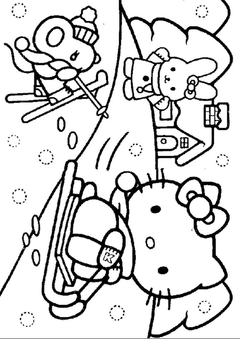 Kolorowanka Hello Kitty Na Sankach Obrazek Do Wydruku Nr 19