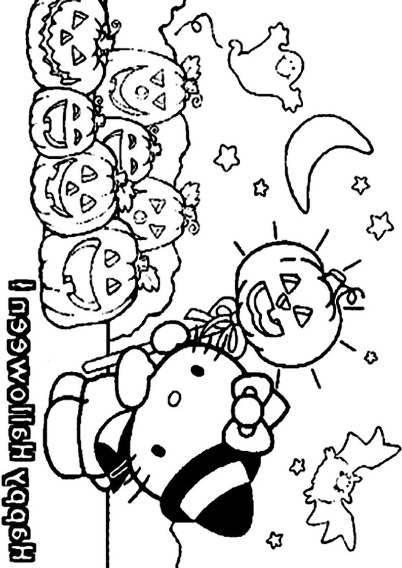 Halloween Kolorowanka Hello Kitty Obrazek Do Wydruku Nr 28