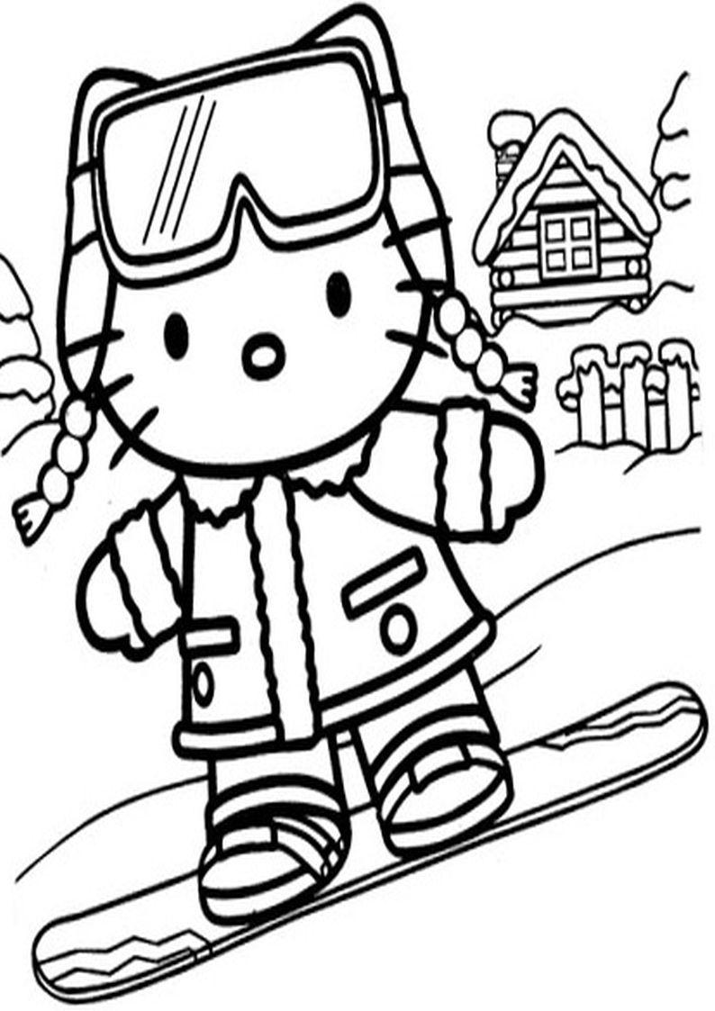 Kolorowanka Hello Kitty Na Desce Uprawia Zimowe Sporty