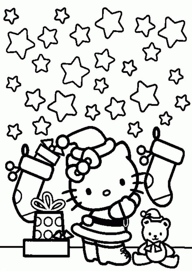 Kolorowanka Hello Kitty Na Boze Narodzenie Obrazek Do Wydruku Nr 56