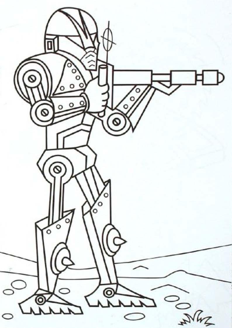 Kolorowanka Cyborg Z Karabinem Robot Dla Dzieci Do Wydruku