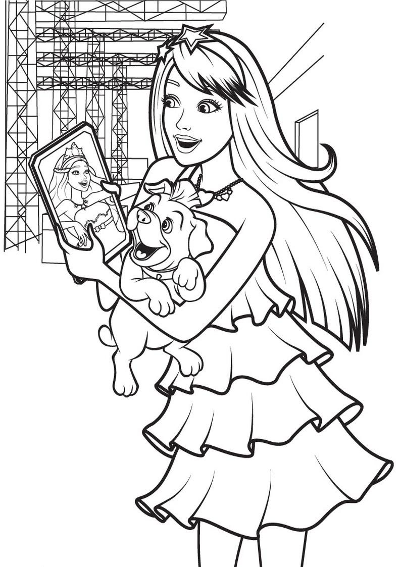 Kolorowanka Barbie Piosenkarka Z Pieskiem Malowanka Dla Dziewczynek Nr 25