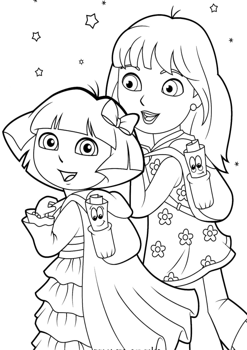 The gallery for dora and friends into the city for Dora mermaid coloring pages