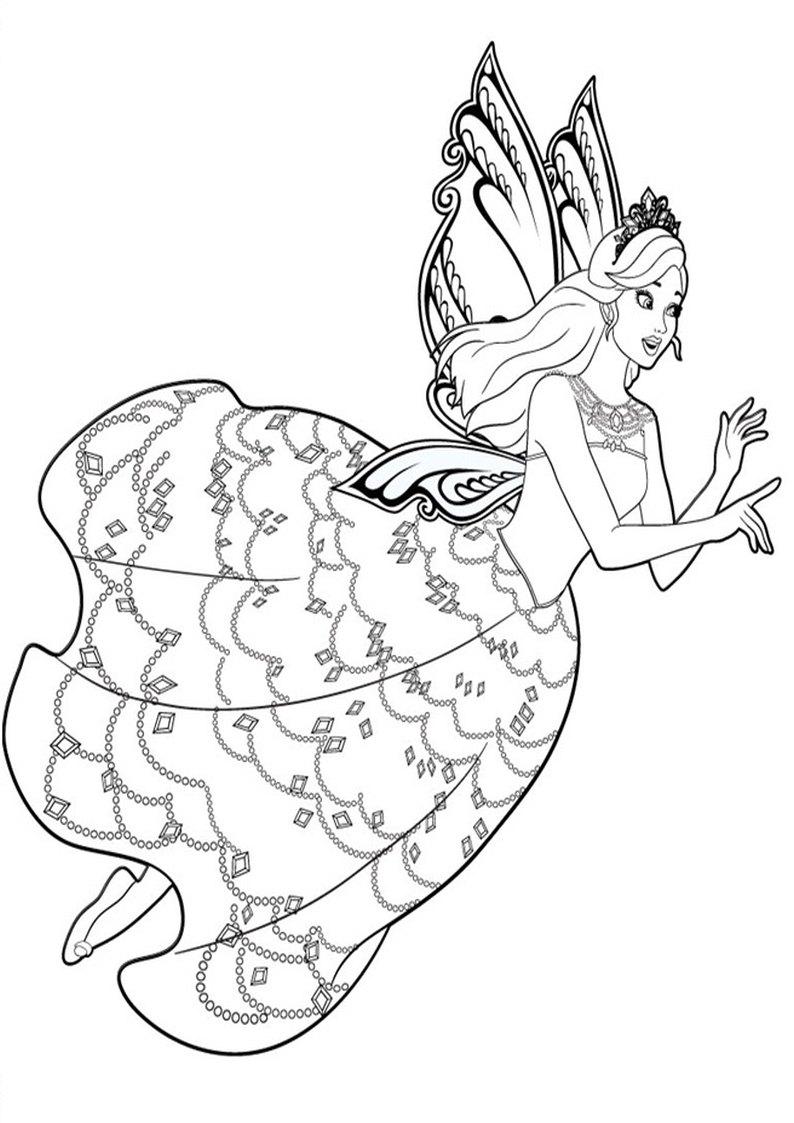 Kolorowanka Barbie Mariposa I Basniowa Ksiezniczka Malowanka Nr 3