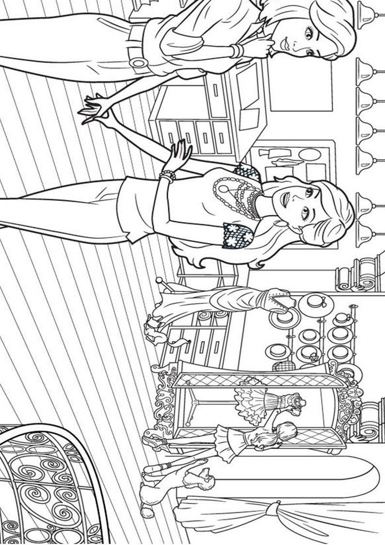 Kolorowanka Barbie W Swiecie Mody Dla Dziewczynek Do Wydruku Nr 15