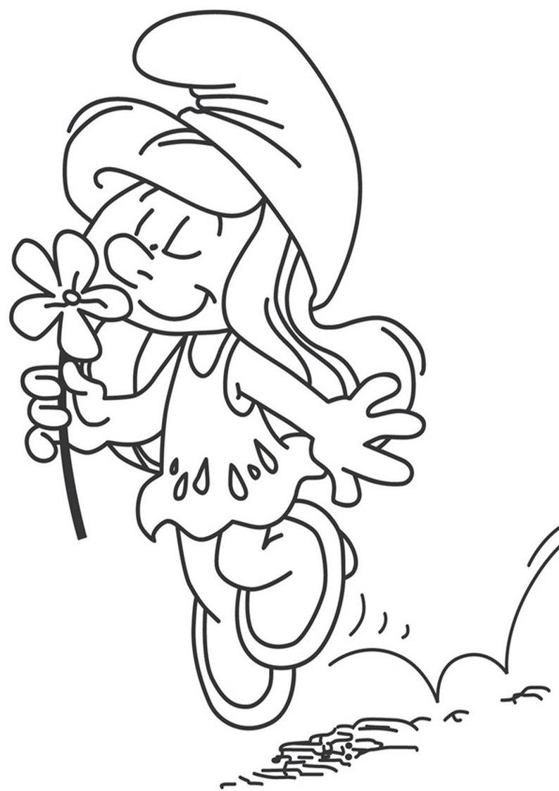 Kolorowanki Smerfy Smerfetka Z Kwiatuszkiem Nr 24