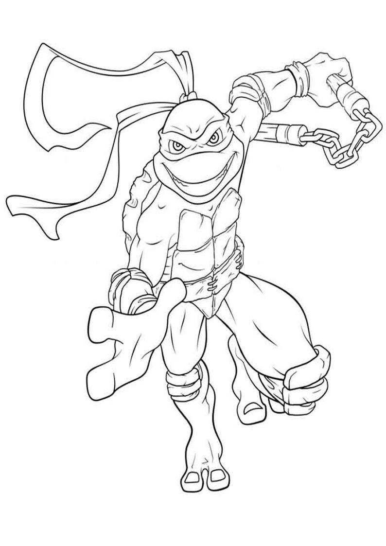 Kolorowanka Wojownicze Zolwie Ninja Nr 12