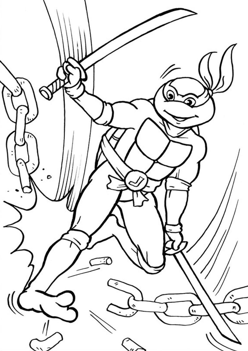 Kolorowanka Wojownicze Zolwie Ninja Nr 32