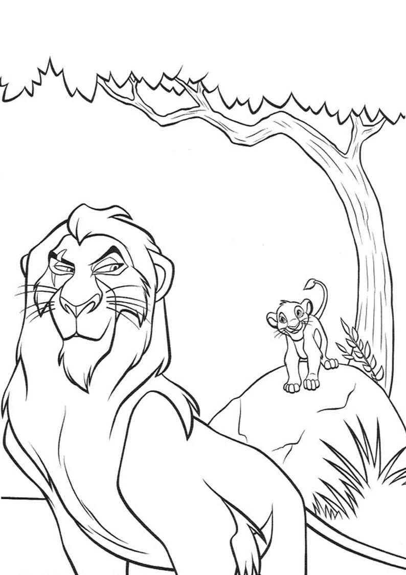 Kolorowanka Krol Lew Skaza I Simba Nr 22