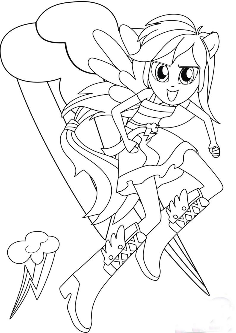 Kolorowanka Rainbow Dash Equestria Girls Malowanka Nr 12