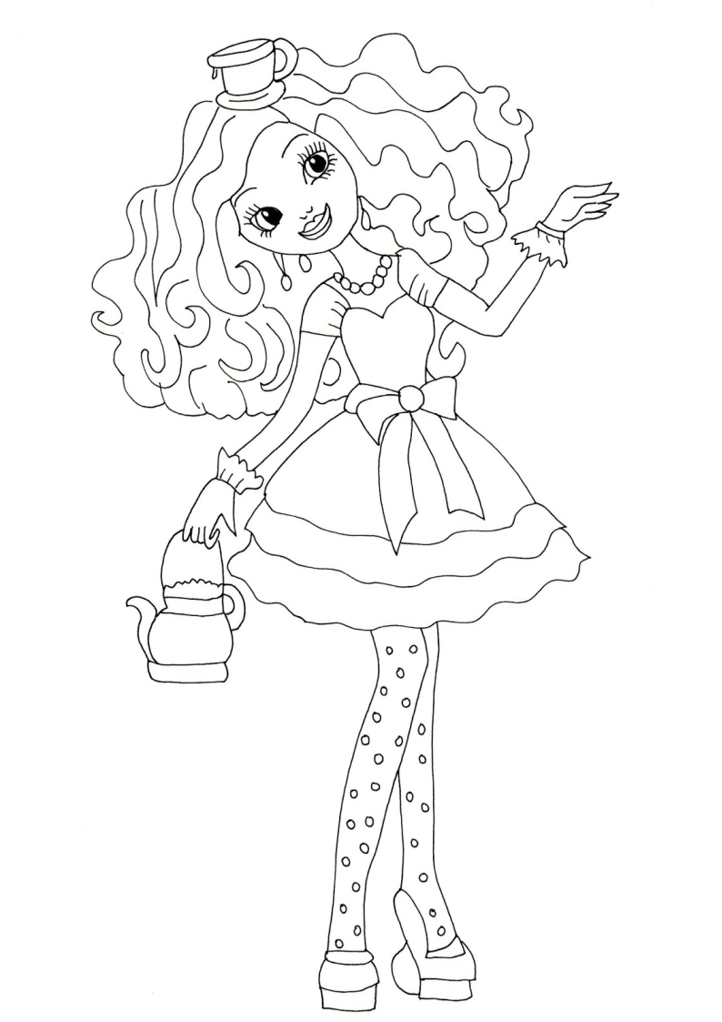 Printable Coloring Pages Ever After High Madeline Hat
