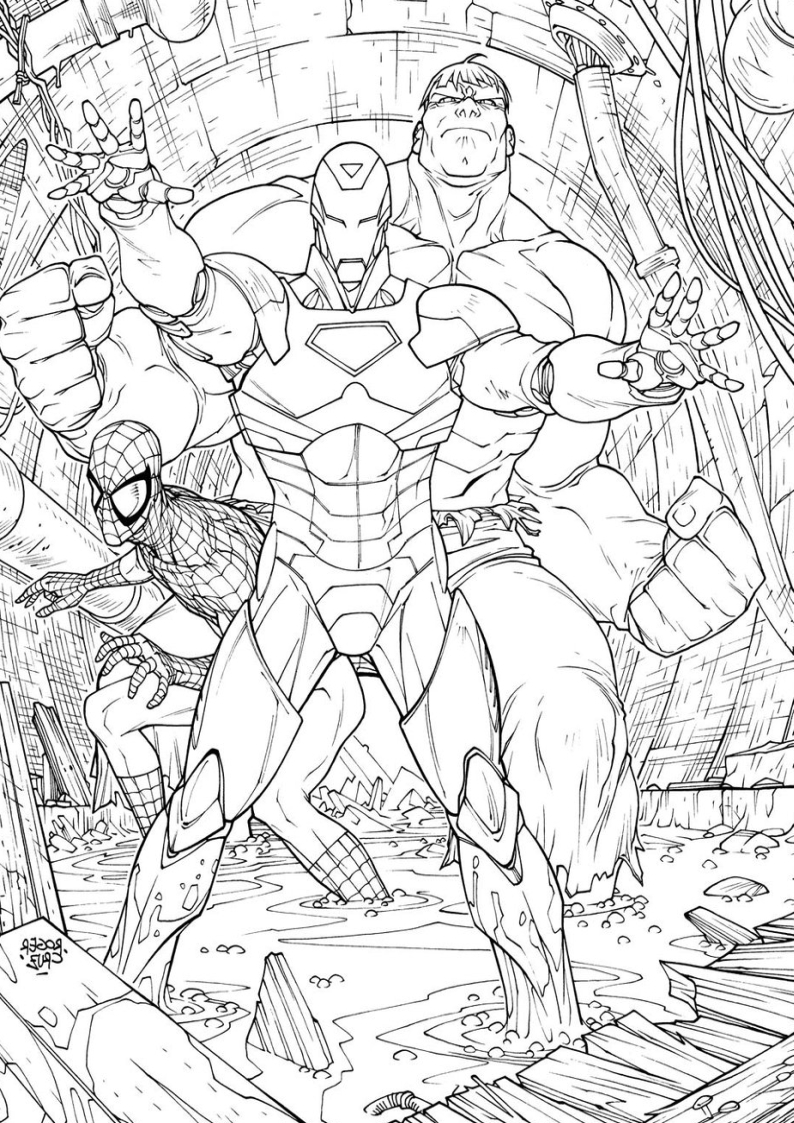 Kolorowanka Hulk I Iron Man Malowanka Nr 28