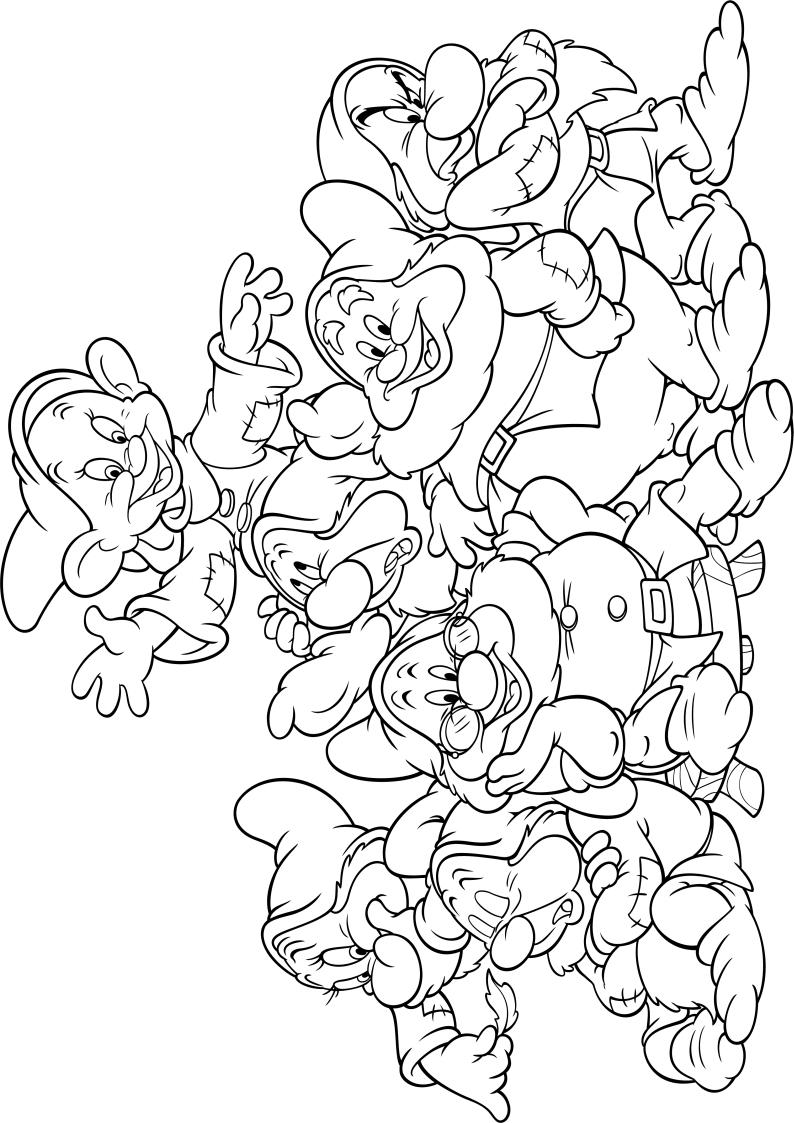 Kolorowanka Krasnoludki Krolewna Sniezka Disney Nr 25