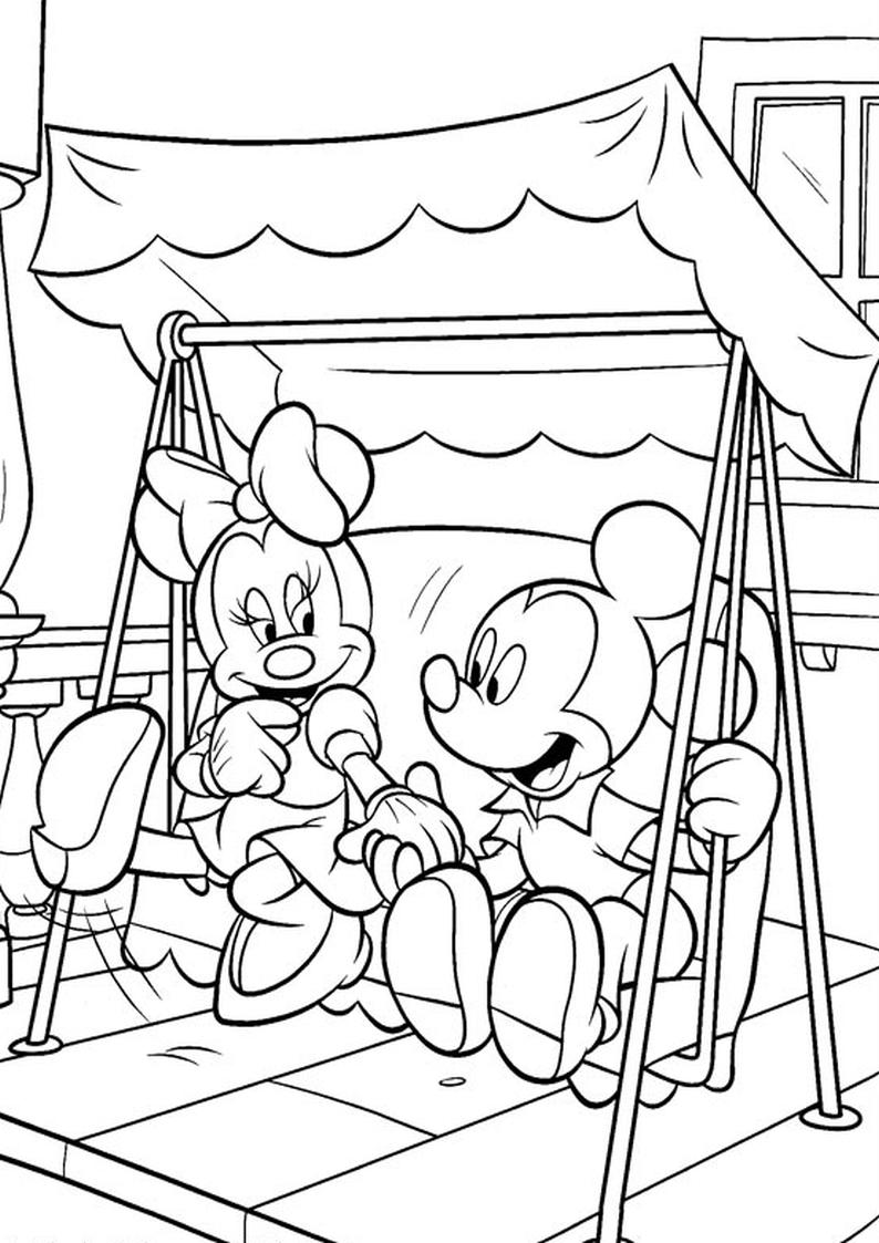 Kolorowanka Myszka Miki I Minnie Na Hustawce Nr 21