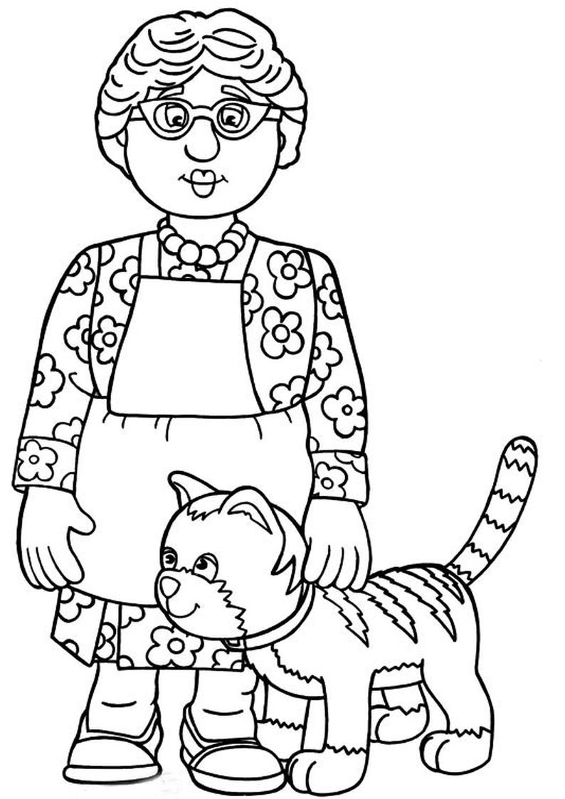 kolorowanka Strażak Sam - malowanka Bella Lasagne z kotką Różą ...
