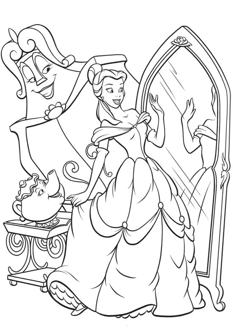 Kolorowanka Ksiezniczka Bella Z Bajki Disney Piekna I Bestia Nr 7