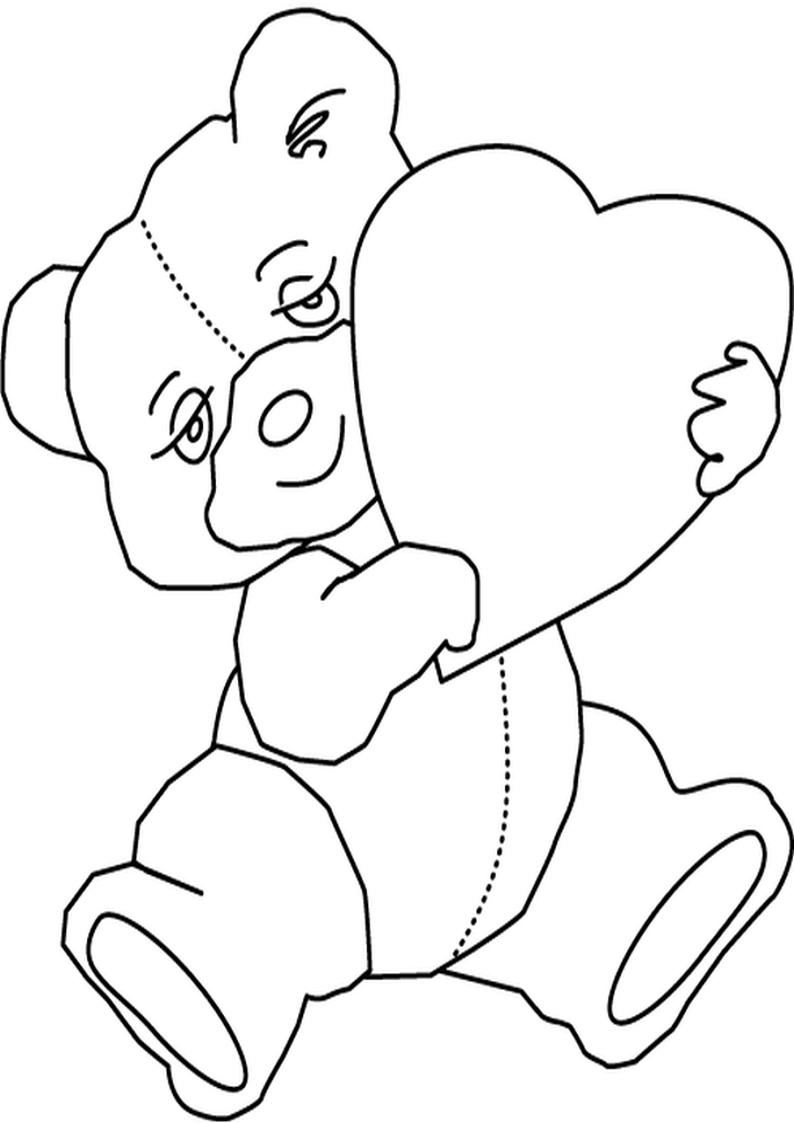 Kolorowanka Walentynkowy Mis Z Sercem W Lapkach Nr 19