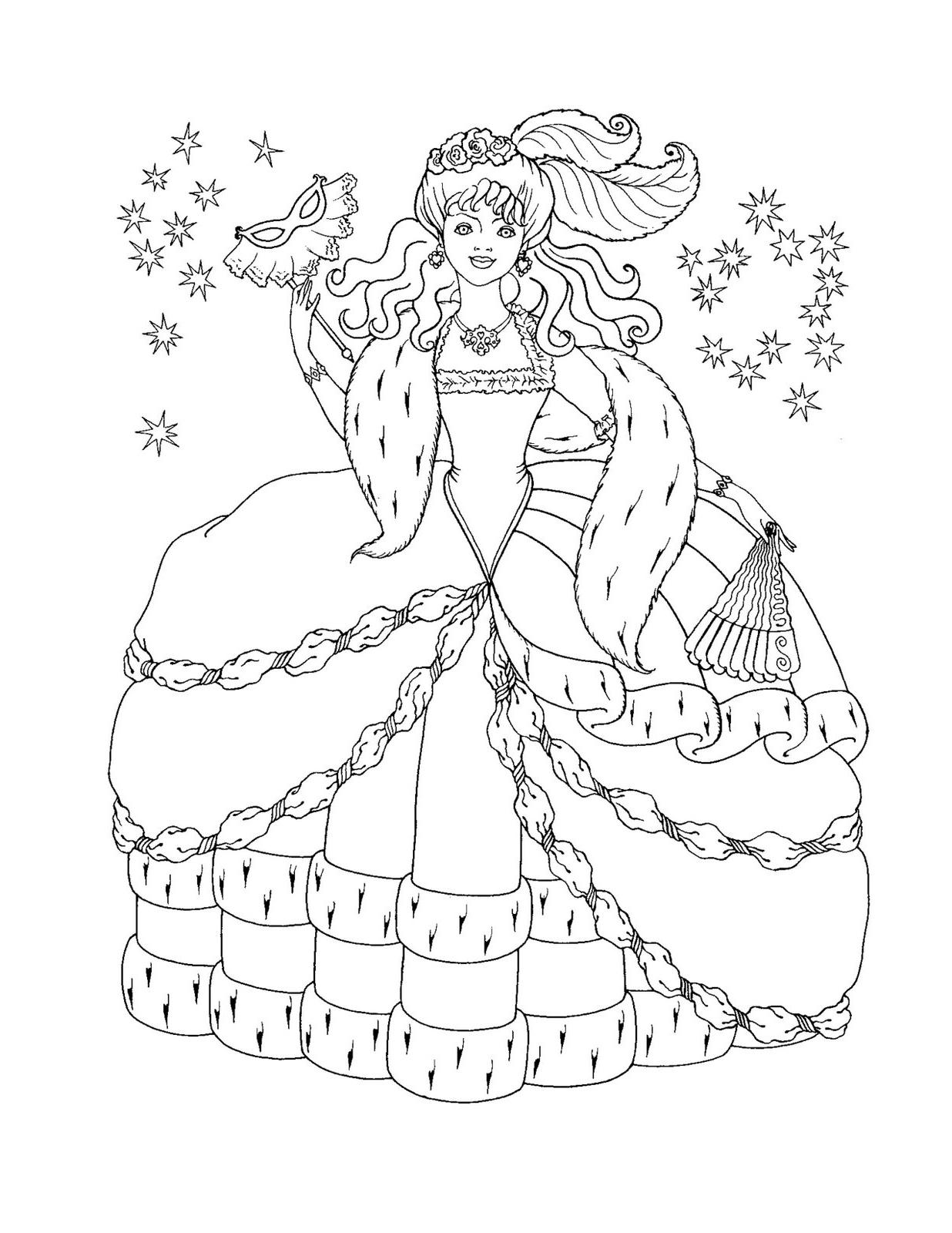 Line Art Queen : Dla dziewczyn kolorowanki księżniczki kolorowanka