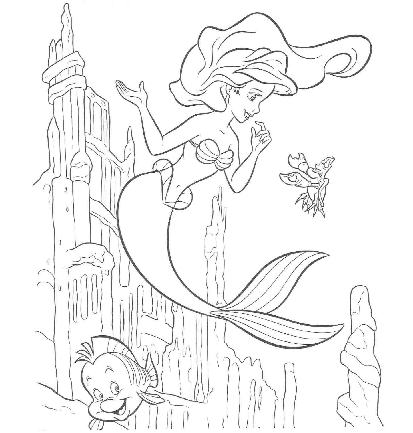 Kolorowanki Mała Syrenka Księżniczka Ariel