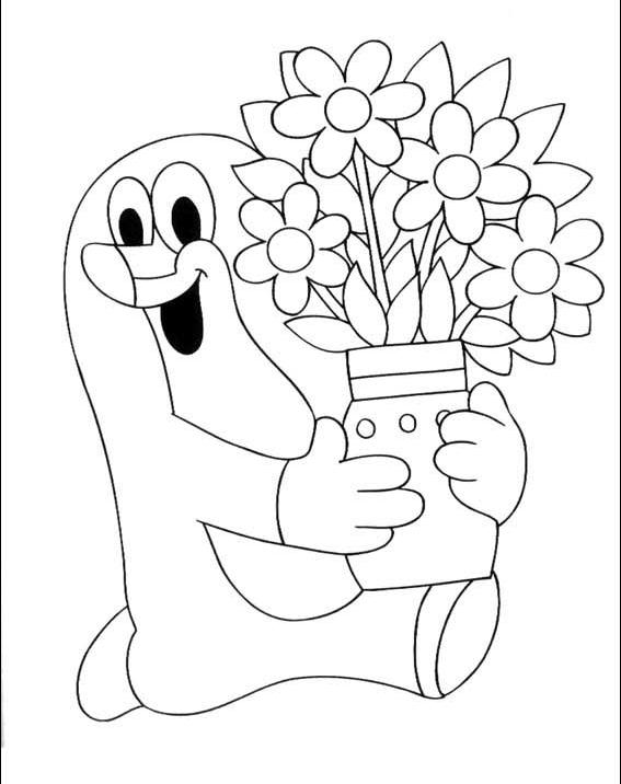 bajki kolorowanki krecik  dla dzieci kolorowanka krecik