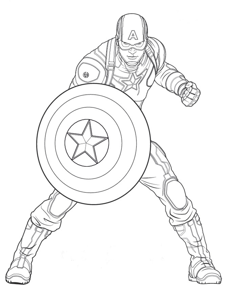 Kolorowanka Avengers Kapitan Ameryka Nr 10