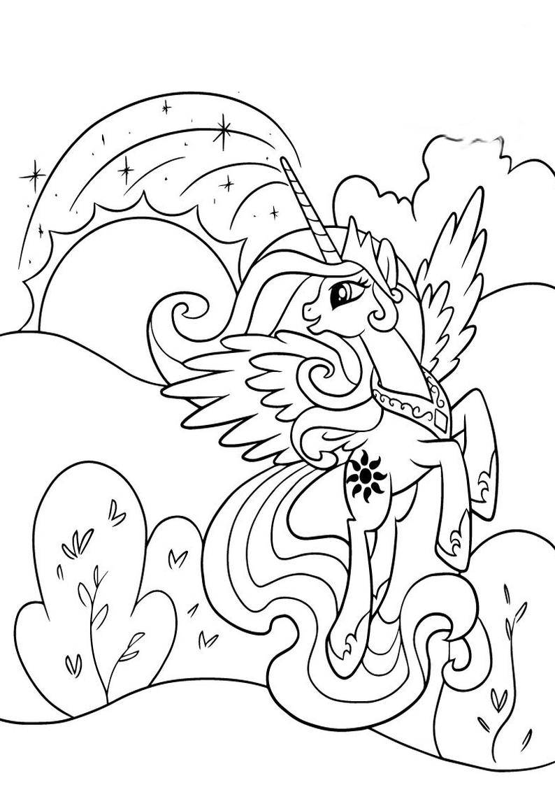 Kolorowanka My Little Pony Ksiezniczka Celestia Nr 48
