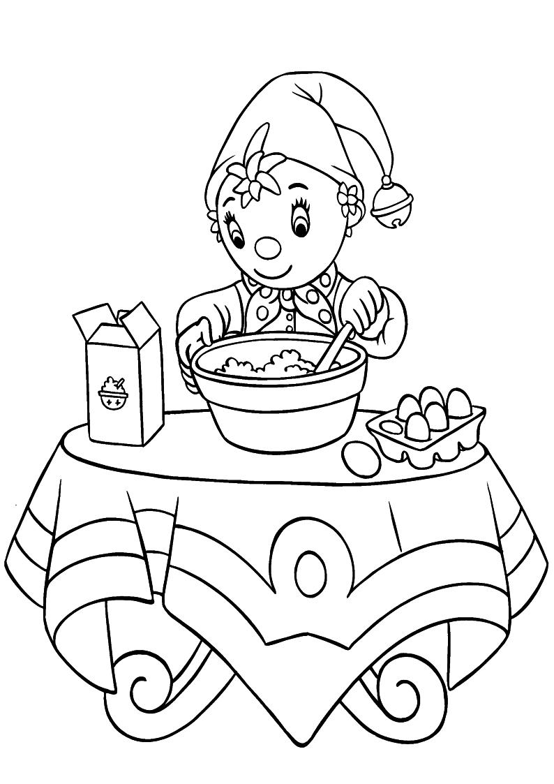 Kolorowanka Noddy Piecze Ciasto Nr 51