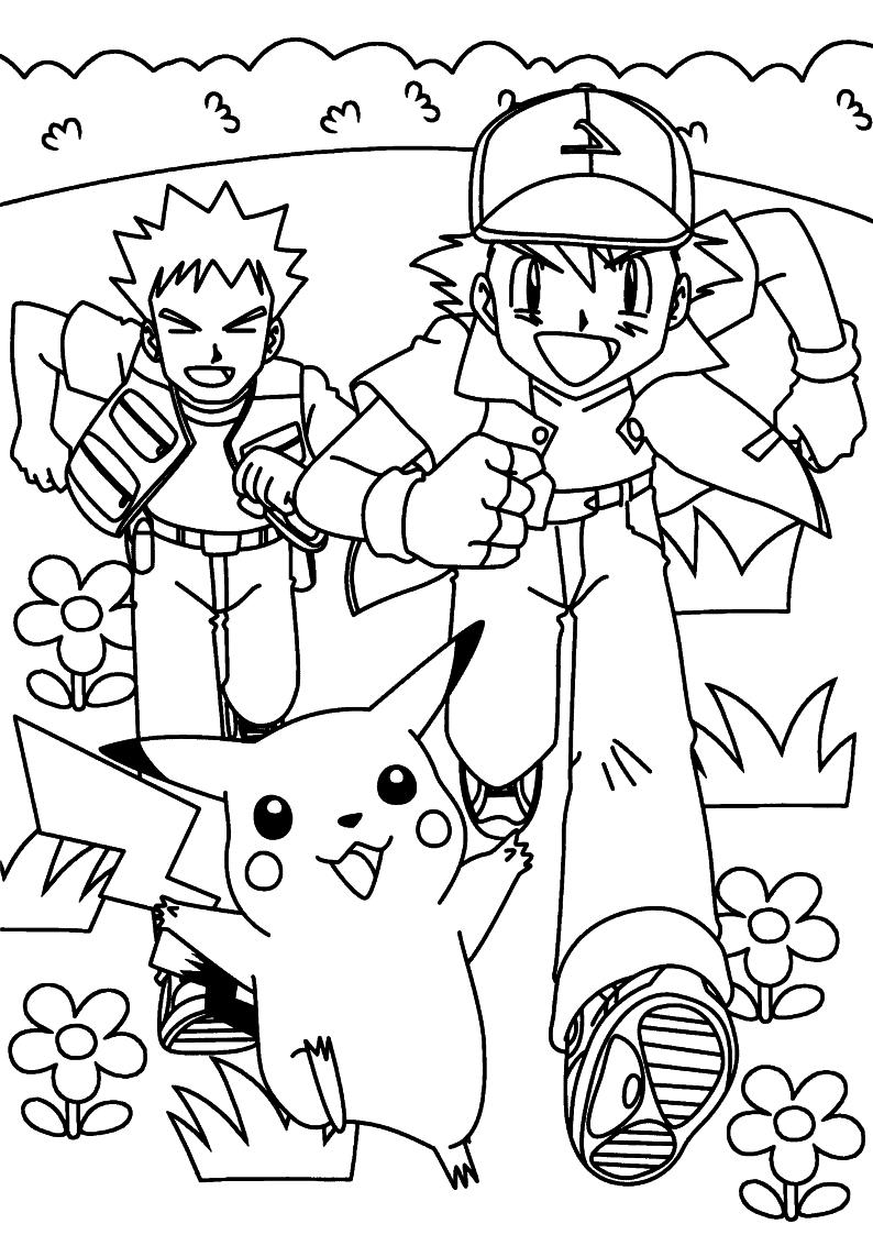 Kolorowanka Pokemon Ash Pikachu I Brock