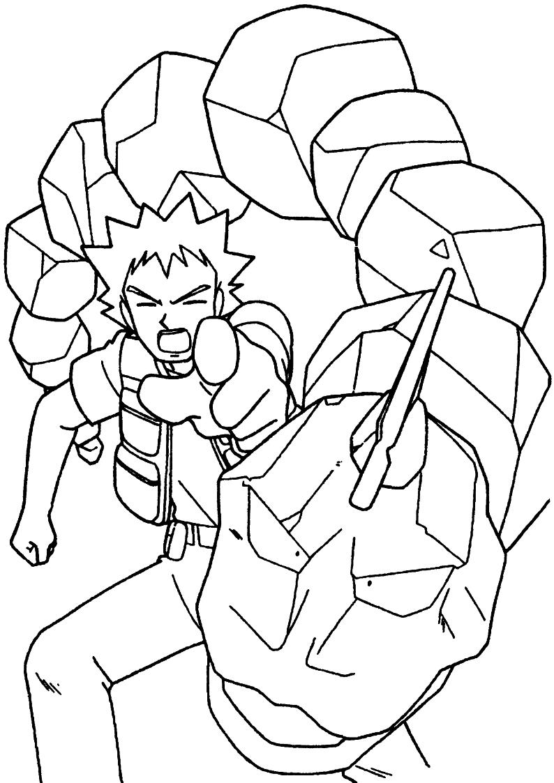 Kolorowanka Brock I Pokemon Onix