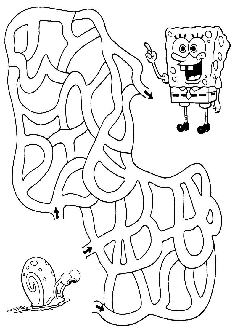 Kolorowanka Spongebob Labirynt Malowanka Nr 76
